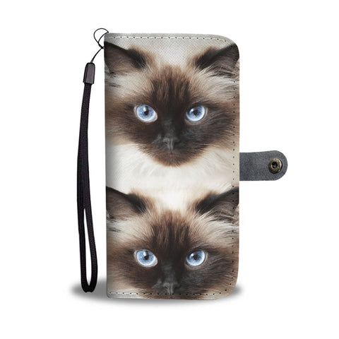 Himalayan Cat Face Print Wallet Case-Free Shipping