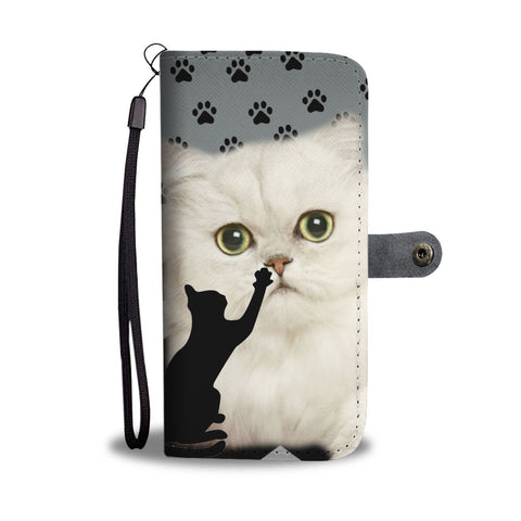 Persian Cat With Paws Print Wallet Case-Free Shipping