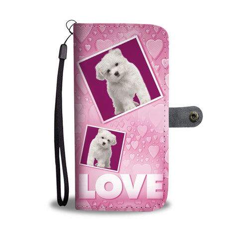 Maltese Dog with Love Print Wallet Case-Free Shipping