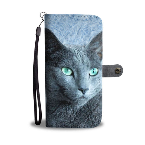 Lovely Russian Blue Cat  Print Wallet Case-Free Shipping