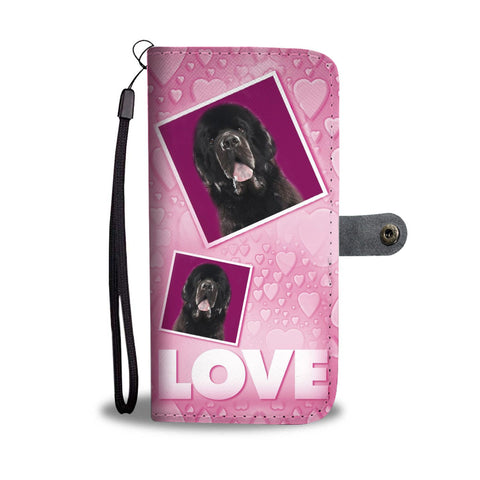 Newfoundland Dog with Love Print Wallet Case-Free Shipping
