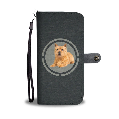 Cute Norwich Terrier In Circle Print Wallet Case-Free Shipping