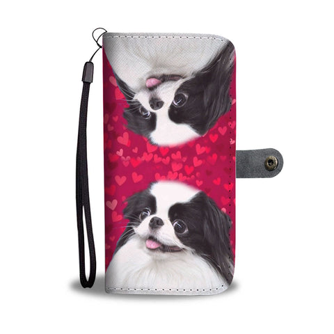 Japanese Chin Dog On Red Hearts Print Wallet Case-Free Shipping