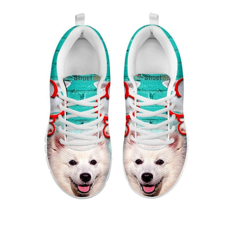 American Eskimo With With Rose Print Running Shoe For Women-Free Shipping- For 24 Hours Only-Paww-Printz-Merchandise