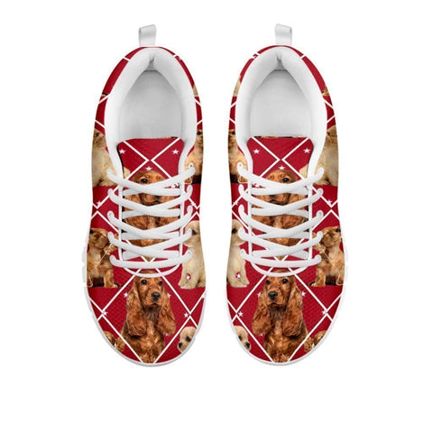 Amazing Cocker Spaniel Dog, Red Boxes Print Running Shoes For Women-Free Shipping-For 24-Hours Only-Paww-Printz-Merchandise
