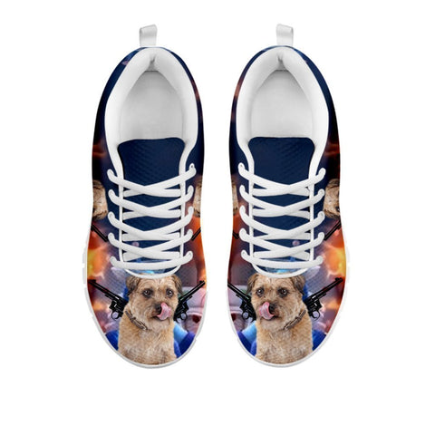 Amazing 'Hero' Border Terrier Dog Print Running Shoes For Women-Free Shipping-For 24 Hours Only-Paww-Printz-Merchandise