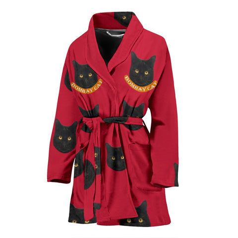 Bombay cat Print Women's Bath Robe-Free Shipping