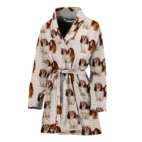 Lhasa Apso Dog Pattern Print Women's Bath Robe-Free Shipping