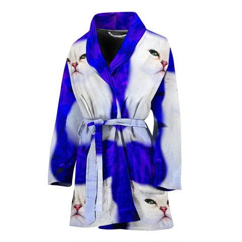 Lovely Persian Cat Print Women's Bath Robe-Free Shipping