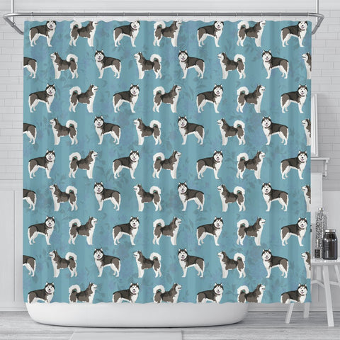 Alaskan Malamute Dog Pattern Print Shower Curtains-Free Shipping