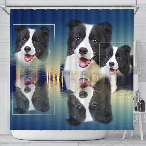 Cute Border Collie Dog Print Shower Curtain-Free Shipping