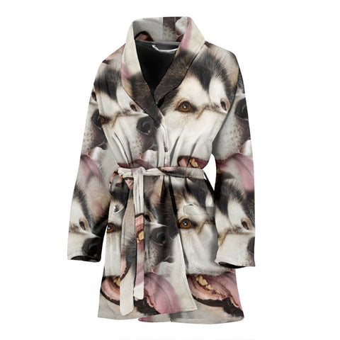 Alaskan Malamute Patterns Print Women's Bath Robe-Free Shipping