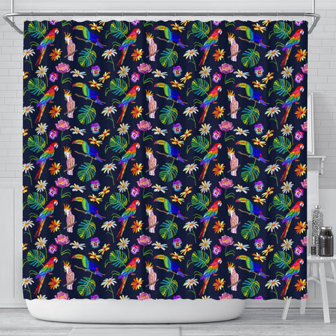 Lovely Parrot Floral Print Shower Curtains-Free Shipping