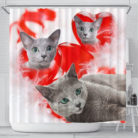 Cute Russian Blue Cat Print Shower Curtains-Free Shipping
