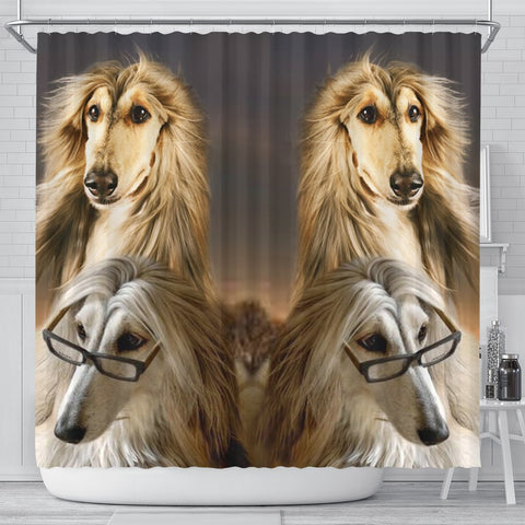 Afghan Hound Dog Print Shower Curtain-Free Shipping
