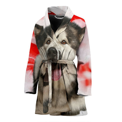 Laughing Alaskan Malamute Print Women's Bath Robe-Free Shipping