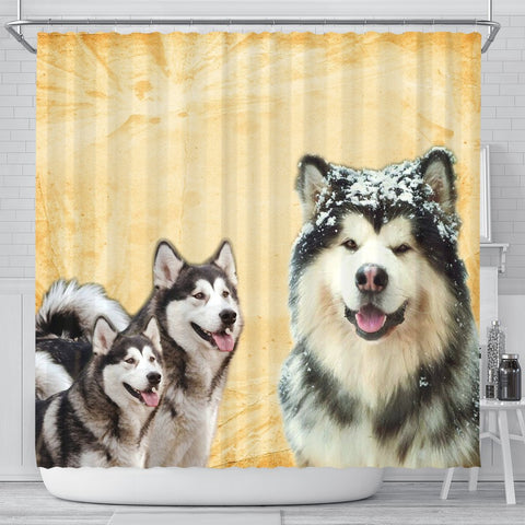 Alaskan Malamute Print Shower Curtains-Free Shipping