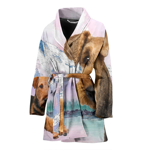 Airedale Terrier Print Women's Bath Robe-Free Shipping