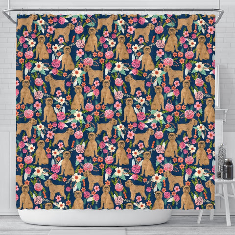 Brussels Griffon Dog Floral Print Shower Curtains-Free Shipping