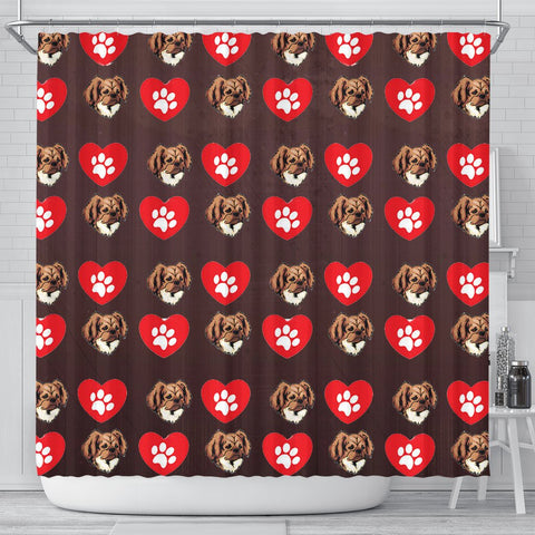 Tibetan Spaniel Patterns Print Shower Curtain-Free Shipping