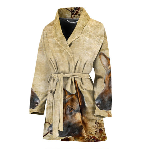 Amazing German Shepherd Print Women's Bath Robe-Free Shipping