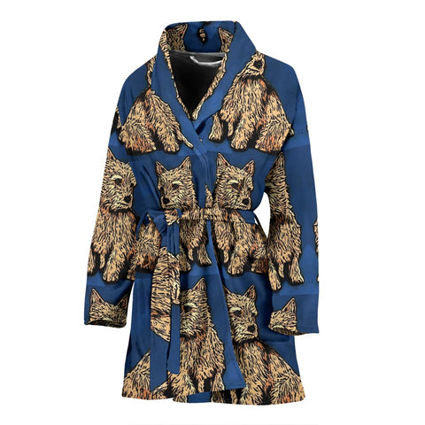 Norwich Terrier Print Women's Bath Robe-Free Shipping