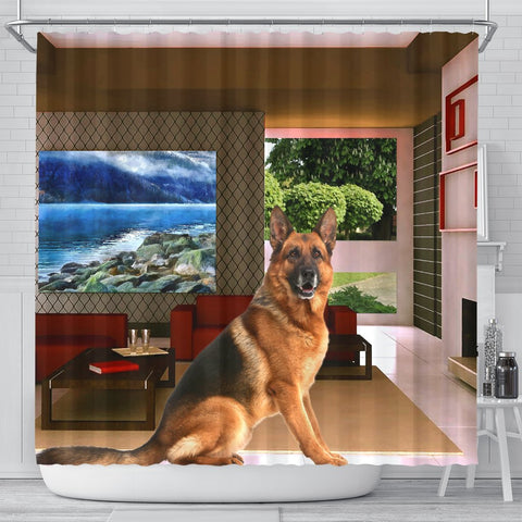 Amazing German Shepherd Print Shower Curtains-Free Shipping