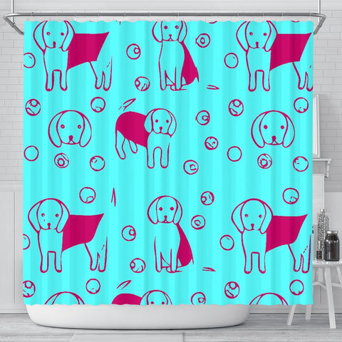 Cute Beagle Patterns Print Shower Curtain-Free Shipping
