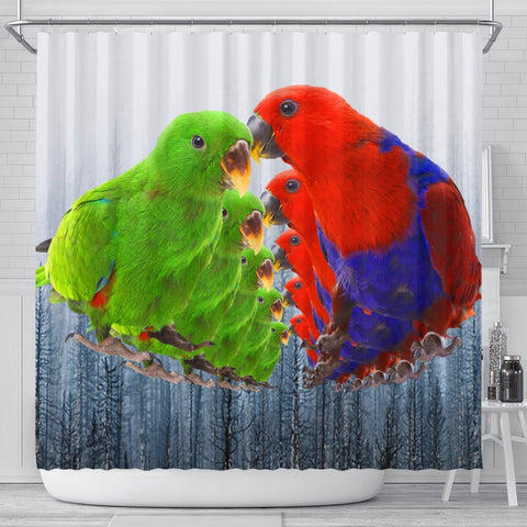Eclectus Parrot Print Shower Curtains-Free Shipping