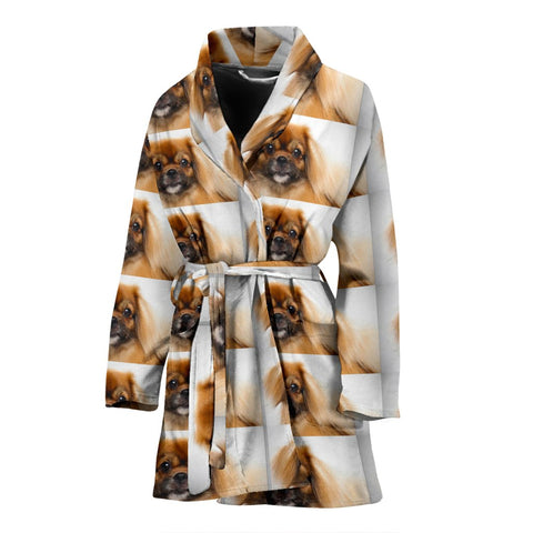 Amazing Tibetan Spaniel Patterns Print Women's Bath Robe-Free Shipping