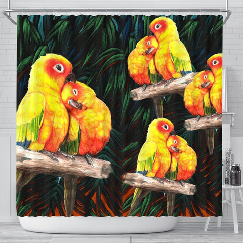 Sun Conure Parrot Art Print Shower Curtains-Free Shipping