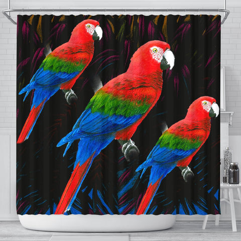 Red And Green Macaw Parrot Print Shower Curtains-Free Shipping