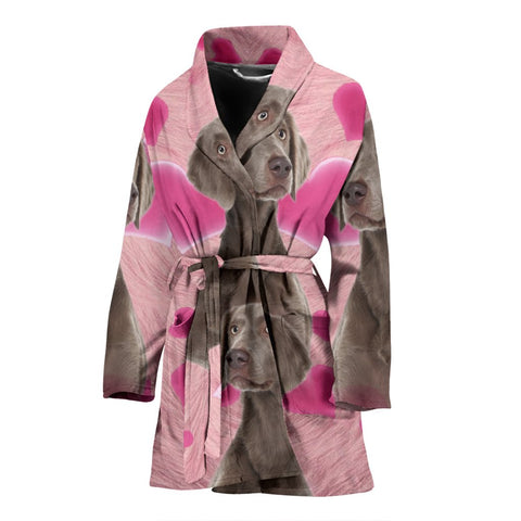 Lovely Weimaraner Print Women's Bath Robe-Free Shipping