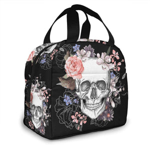 Pink Floral Sugar Skull Flower Insulated Lunch Bag