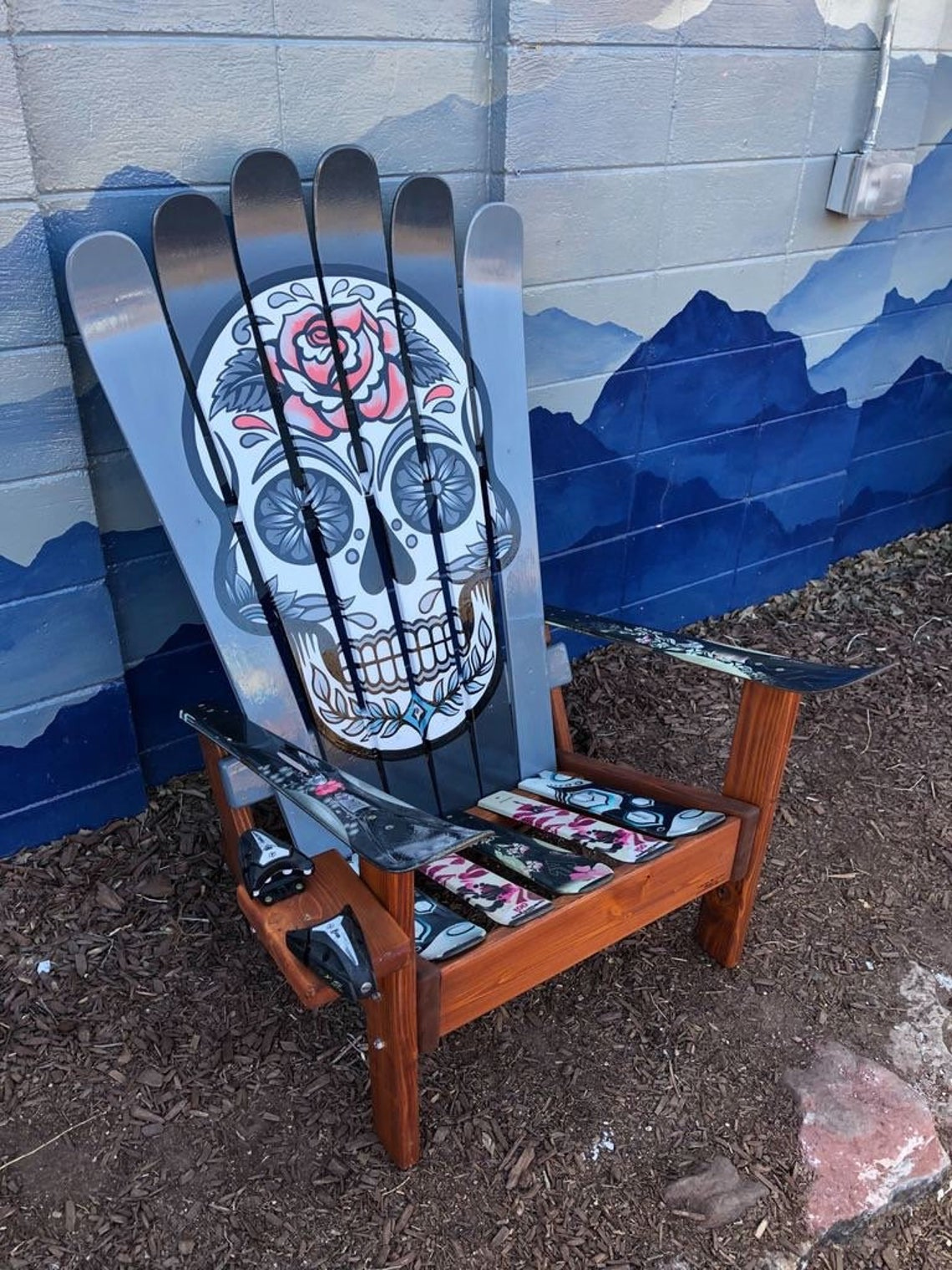 Mexican Sugar Skull/ Day of the Dead Ski Chair