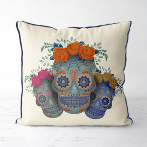 Sugar Skull Pillow Cover Trio Bright Sugar Skull Cushion