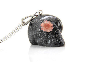 Skull Necklace With Flowers, Day of The Dead Skull