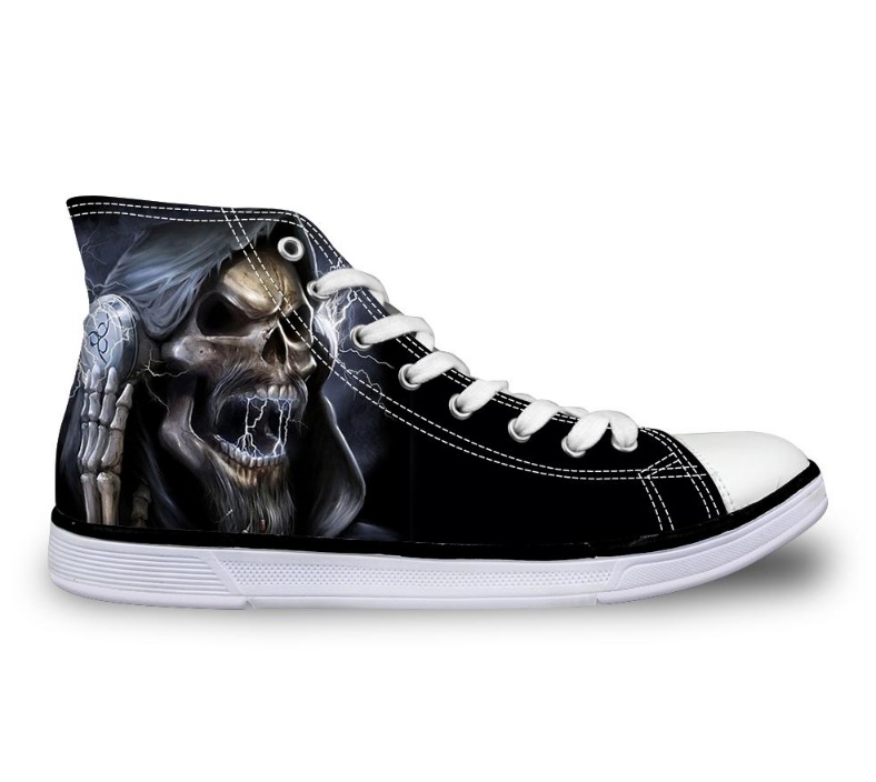 Cool Skull High Top Canvas Shoes Casual Zombie Skeleton Flats Walking Shoes Lace Up