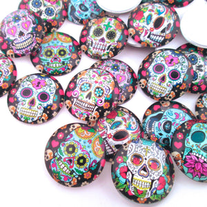 1 PCS Sugar Skull Day of The Dead 25MM Glass Cabochons DIY Handmade Round Photo for Pendaant Making Jewelry Accessories