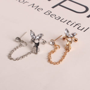 1 Pc New Fashion Personality Metal Ear Clip Leaf Tassel Earrings Pendientes Ear Cuff Women Caught In The Ear Cuffs Jewelry