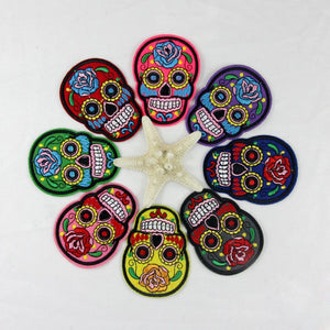 8 Pcs Flower Sugar Skulls Head Embroidered Iron/Sew On Patch