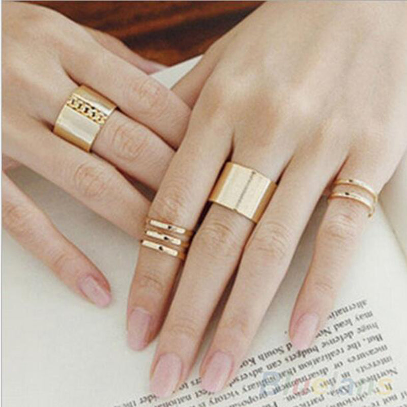 1 Set/3 Pcs Punk Gold Silver Rings Female Anillos Stack Plain Band Midi Mid Finger Knuckle Rings Set for Women Anel Rock Jewelry