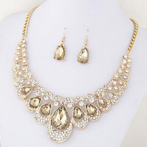 1 Set Charm Women's Jewelry Drop Earrings Gold Color Pendant Choker Necklace Dangle Hook Bib Jewelry
