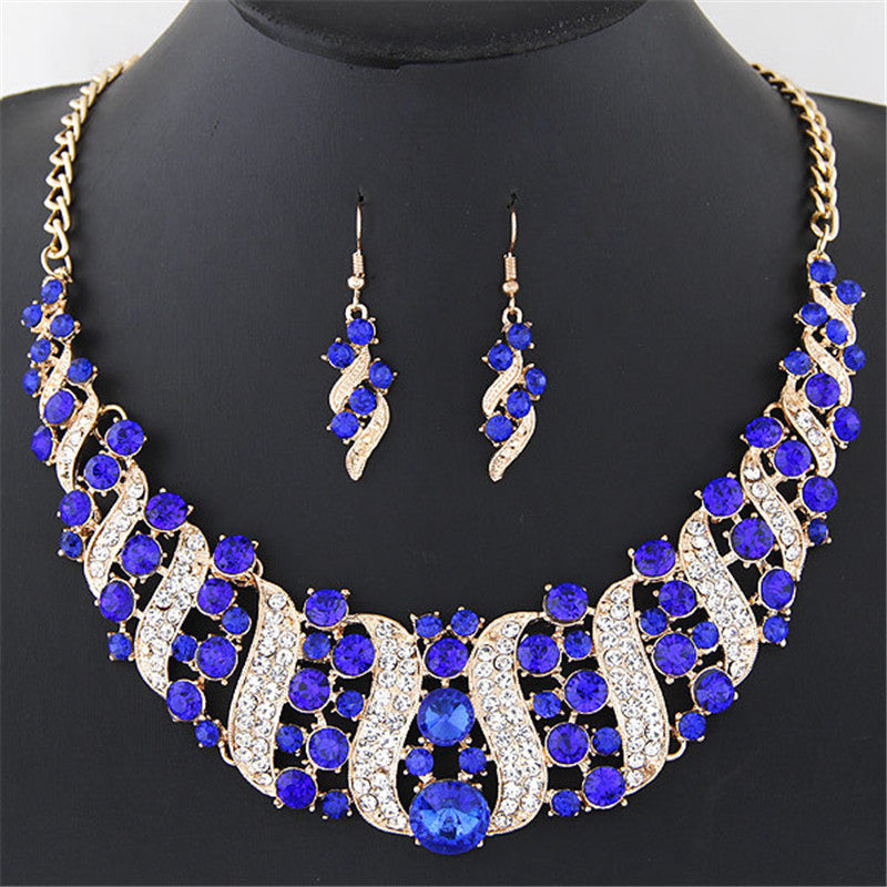 1 Set Women's Girl Gold Color Rhinestone Crystal Chain Necklace Choker Statement Dangle Drop Earrings Jewelry Set collier Party