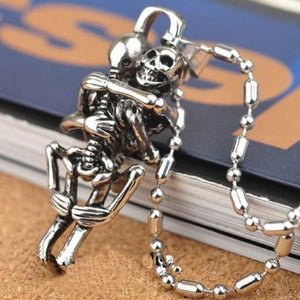 1 pc Hot Men Infinity  Silver Black Stainless Steel Skull Pendant Chain Necklace fine jewelry sale