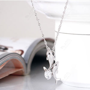 1 pc hot sale Exquisite Double Dolphin Necklace Fashion Silver Jewelry Plated Silver jewelry