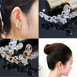 1 pc hot sale Retro Crystal Butterfly Flower Clip Ear Cuff  Wrap Girl Jewelry Hot earrings