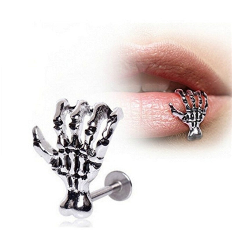 1 pcs for Women Men Punk Skull Devil Hand Kylie Lip Piercing