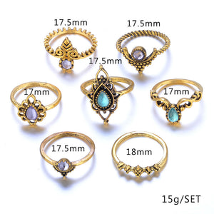 10 Pcs/Set Women Bohemian Fatima Hand Crown Hollow Caved Geometric Joint Knuckle Rings