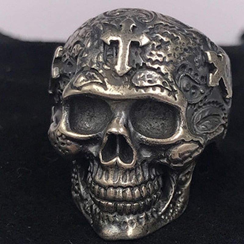 100% Real 925 STERLING SILVER  high quality Skeleton Cross Skull Vintage Individuality Men's jewelry Luxury  rings